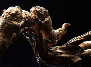 沉香精品艺术雕件双兽戏珠
